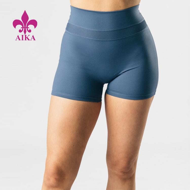 https://www.aikasportswear.com/wholesale-custom-logo-four-way-stretch-high-waist-ribbed-spliced-womens-athletic-yoga-shorts-product/