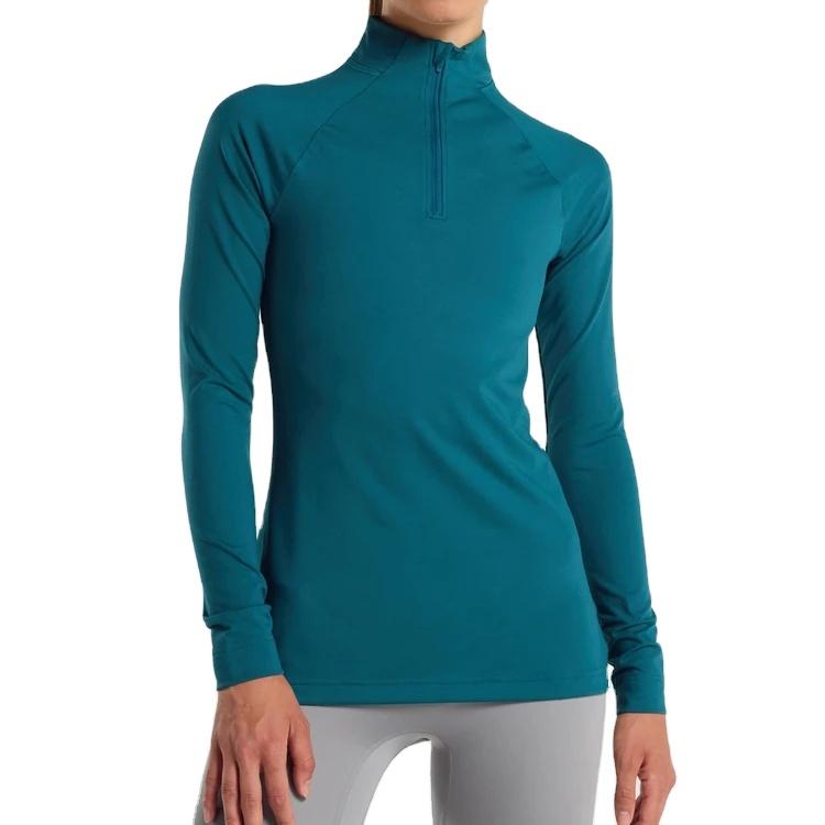 New Fashion Lightweight Training Quarter Zip Long Sleeves T shirt For Women